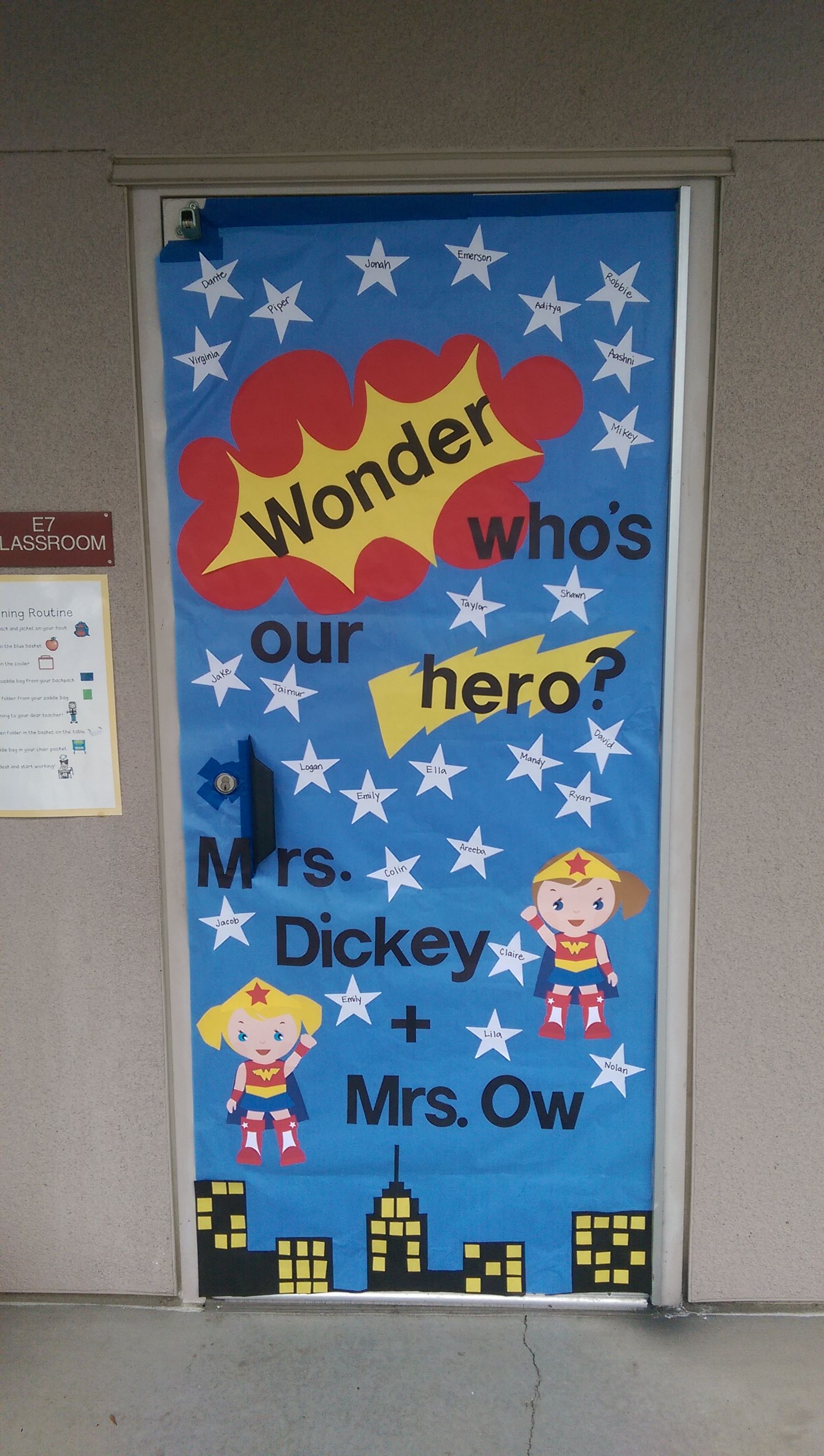 Super Hero Themed Door For Teacher Appreciation Week