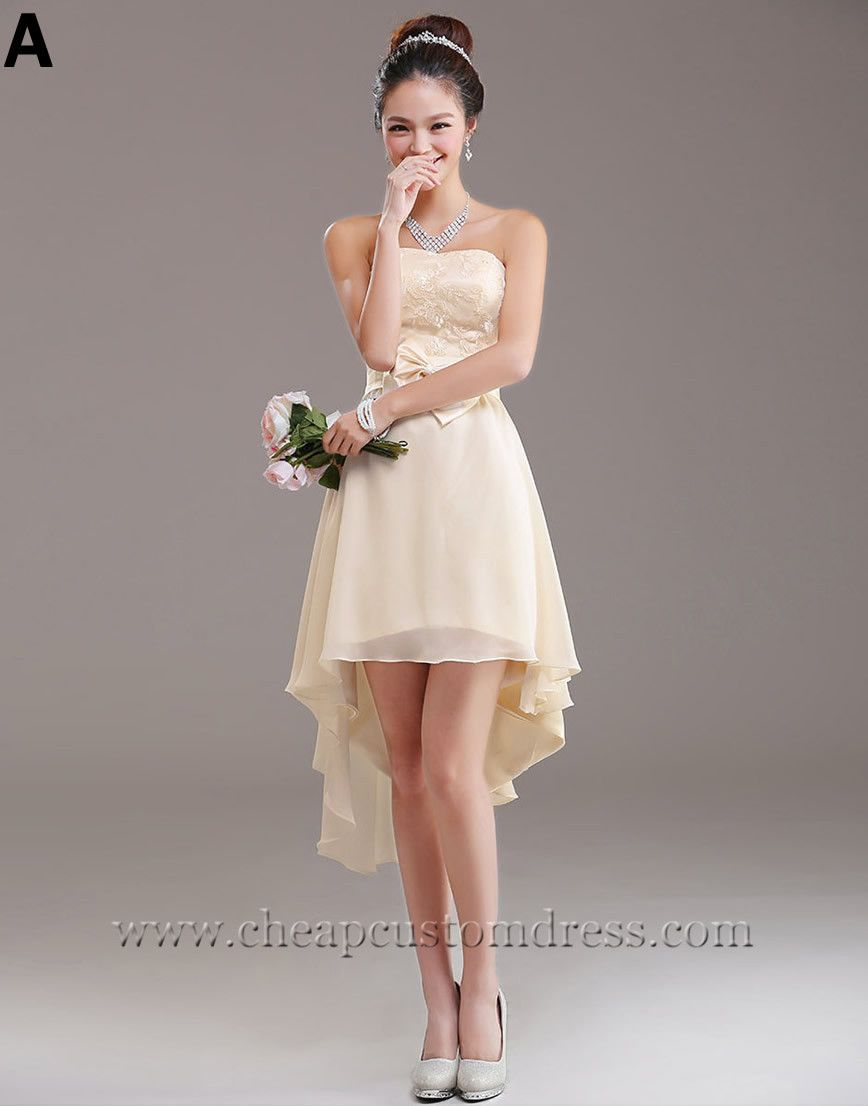 champagne short wedding dress 6 custom color champagne chiffon evening bridesmaid 2546
