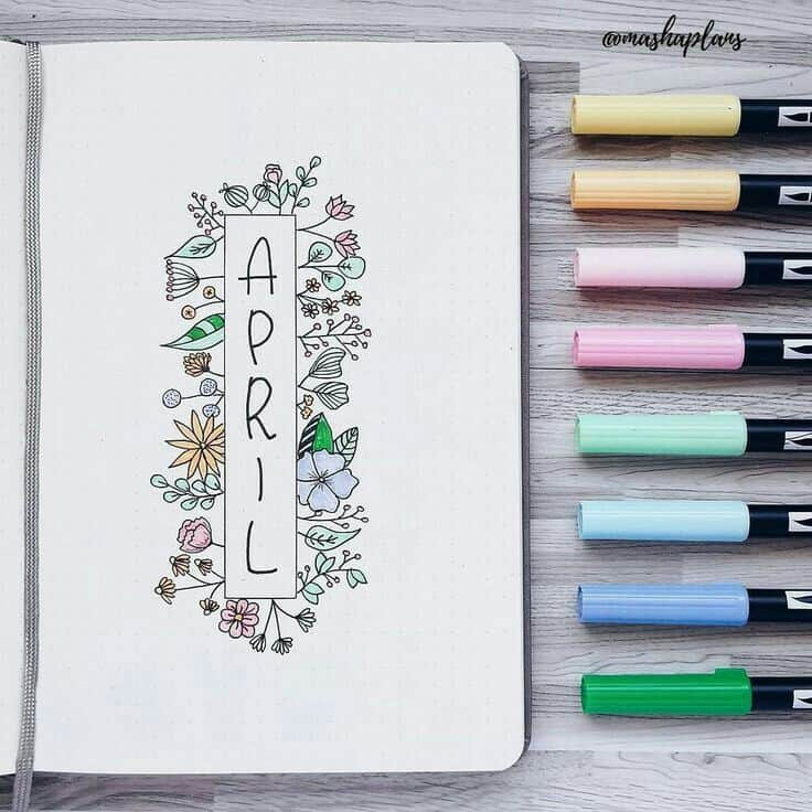 15 Wonderful April Bullet Journal Cover Pages to Inspire You