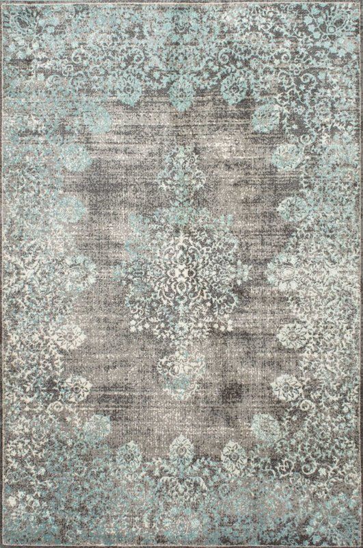 David Turquoise Blue Grey Beige Area Rug