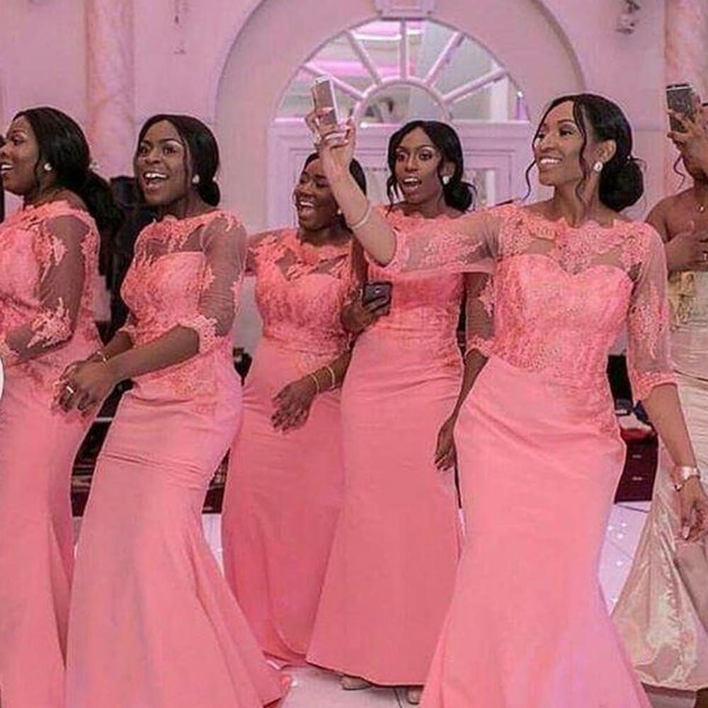 Pink Bridesmaid Dress 2020 Crew Neck Half Sleeve Mermaid Maid Of Honor Dresses Long Satin Wedding Guest Dresses In 2020 African Bridesmaid Dresses Coral Bridesmaid Dresses Maid Of Honour Dresses