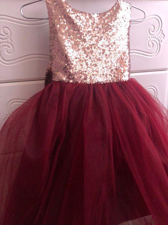 4ea80c348b0 Salina Dress Sequin Rose gold burgandy flower girl dress