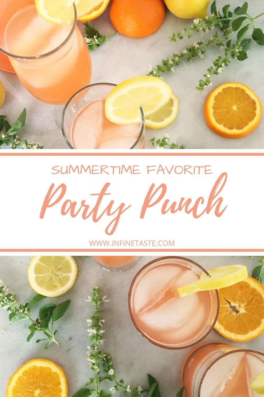 Refreshing lemon, orange and cherry sparkling punch, served icy. #Partypunchreci...