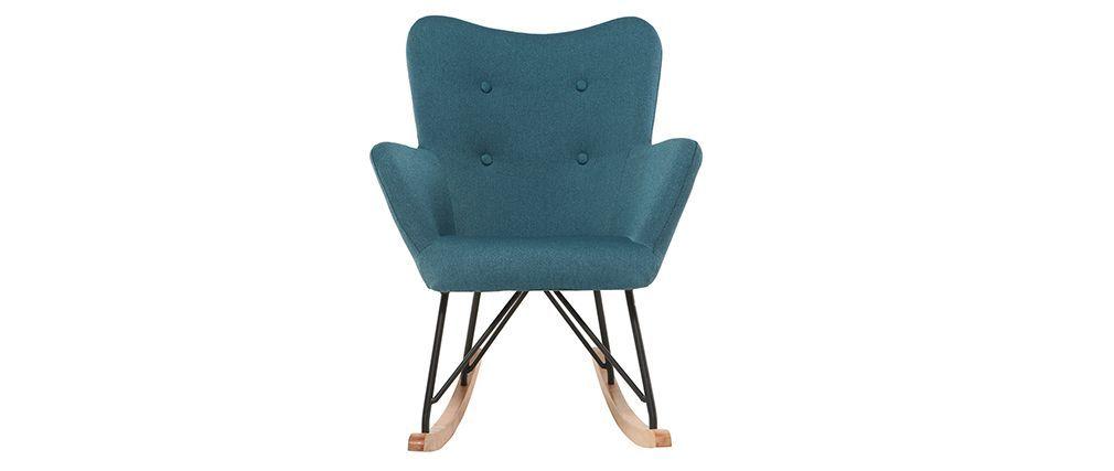 Rocking Chair Design Tissu Bleu Pieds Métal Et Chêne Baby Bristol