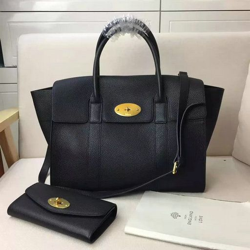 5202cb3c43c0 2017 Spring Mulberry Bayswater with Strap Black Grain Leather