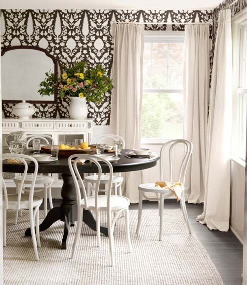 A Wallpaper Swap And Some Savvy Catalog Shopping Dramatically Changed The Tune Of This Dining Room