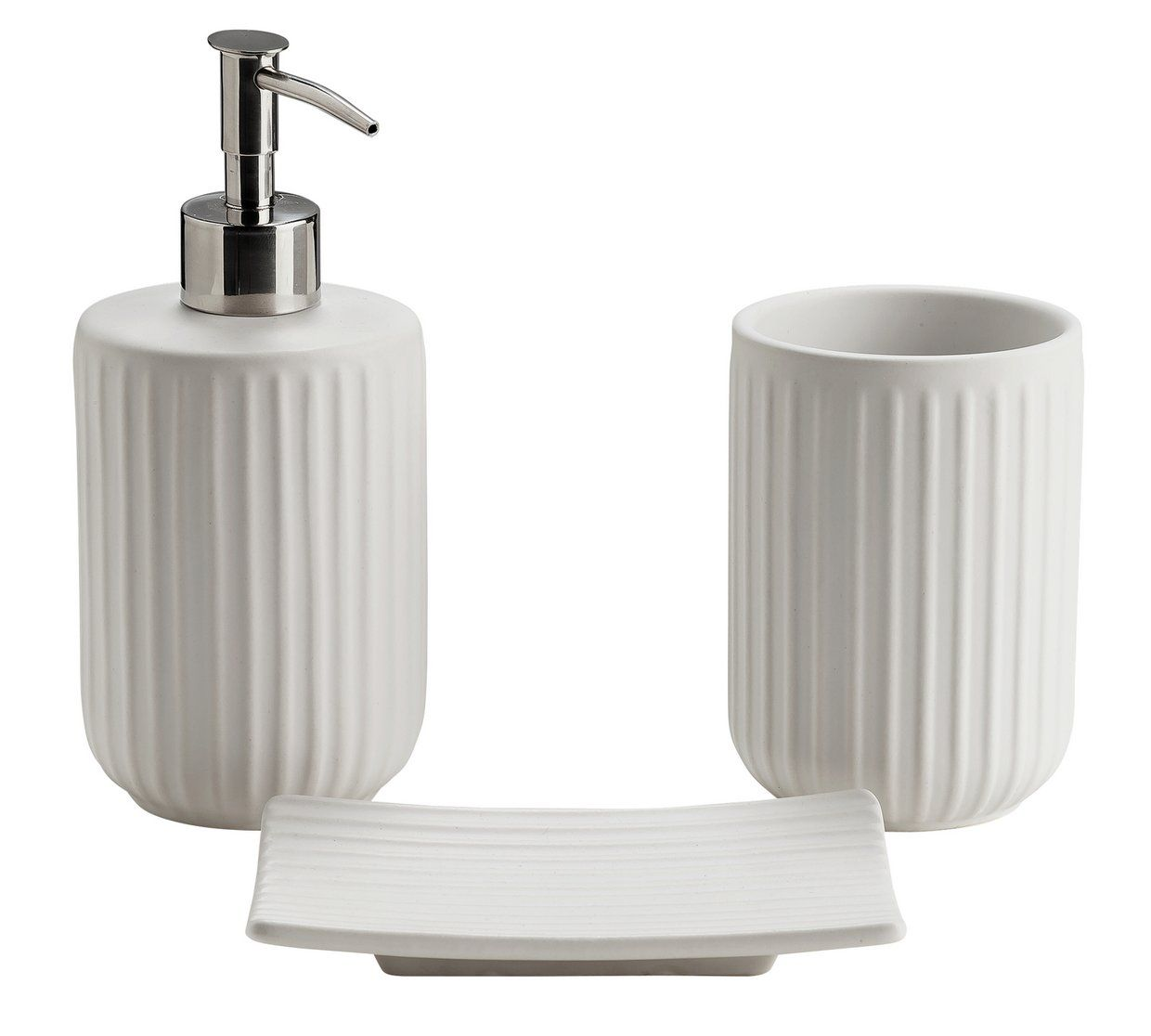 Buy Argos Home 3 Piece Bathroom Accessory Set White Ribbed Bathroom Sets And Fitting Bath Accessories Set Bathroom Sets Bathroom Accessories Sets