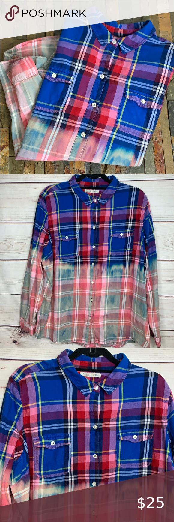 Old Navy Custom Bleach Dyed Blue Flannel Shirt Blue Flannel Shirt Flannel Shirt Bleach Dye [ 1740 x 580 Pixel ]