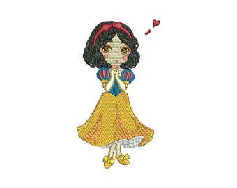 Disney princess snow white kawaii machine embroidery design for 4in