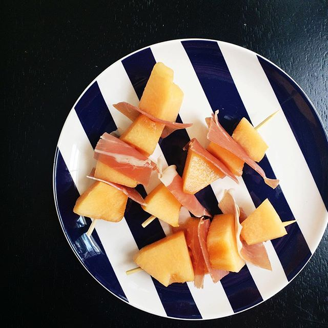 Cantaloupe and prosciutto. Two word I can never spell but they sure taste good together! #whole30 #cleaneating #katespadedishes #stripes #whole30day10 by yoursouthernpeach