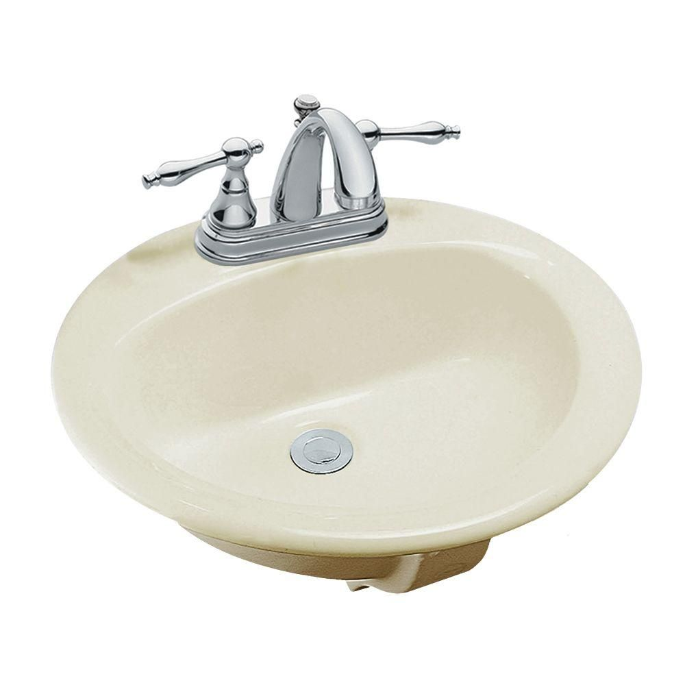 Glacier Bay Drop In Bathroom Sink In Bone 13 0013 4bhd The Home Depot In 2020 Drop In Bathroom Sinks Sink Bathroom Sink