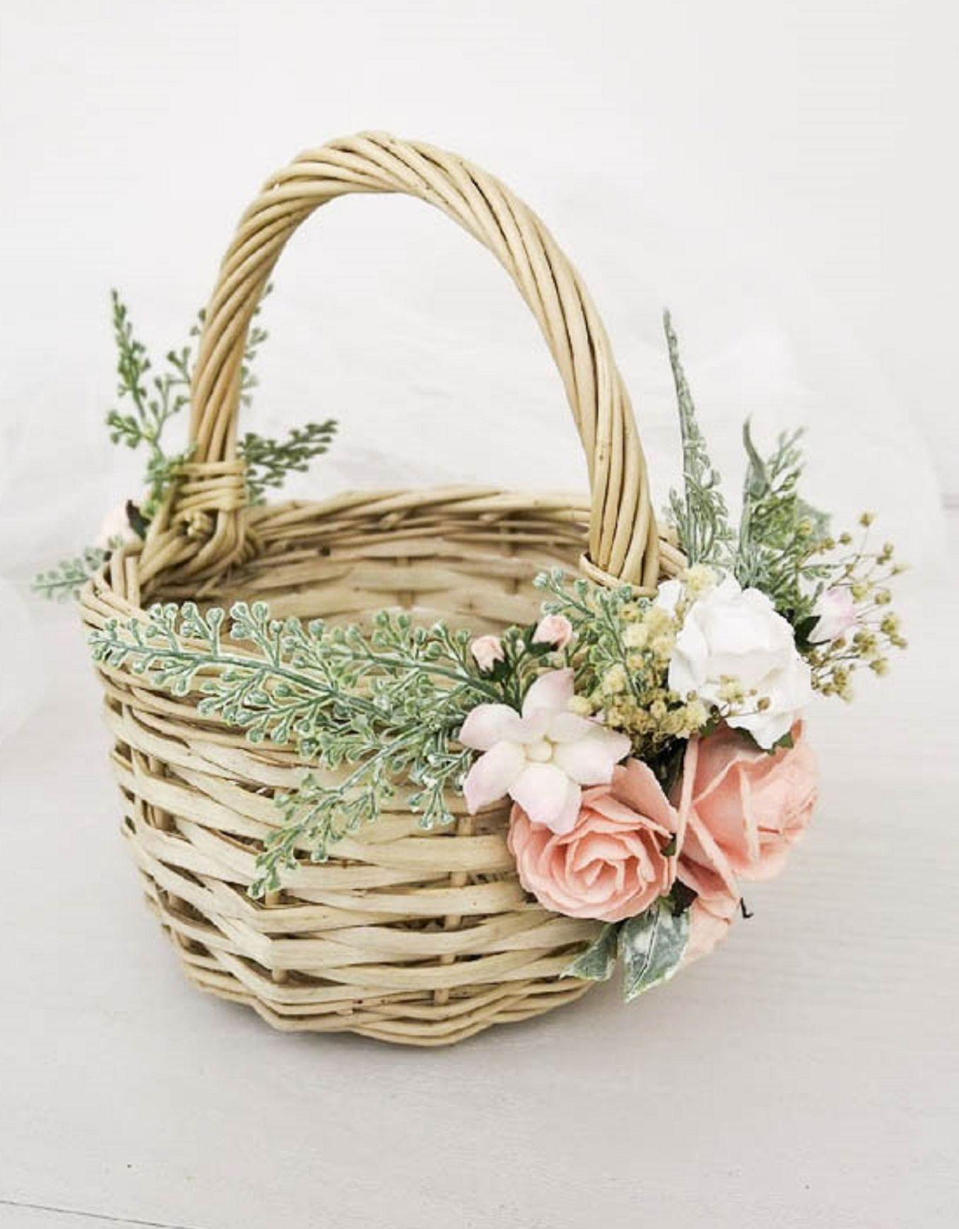 Flower girl basket wicker baskets with pink flowers rustic