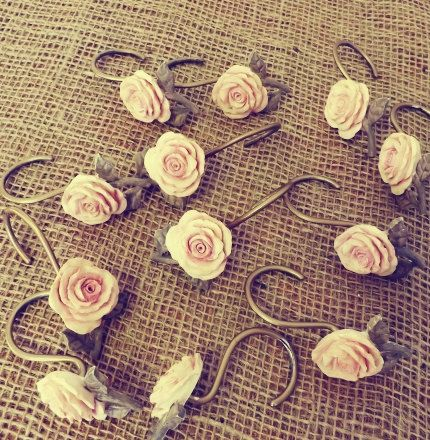 Shabby Chic Cottage RESERVED Pink Rose Shower Curtain Hooks By Alicksandraflin