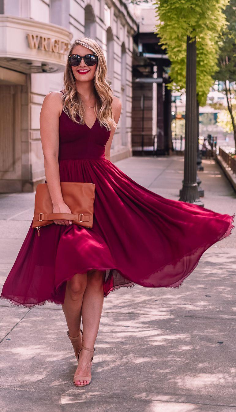 The Best Fall Wedding Guest Dresses Burgundy dress