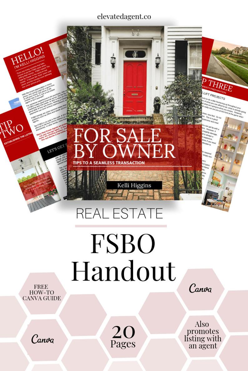 Fsbo Guide For Sale By Owner Handout Kw Real Estate Guide Etsy Real Estate Guide Listing Presentation Real Estate Realtor Marketing