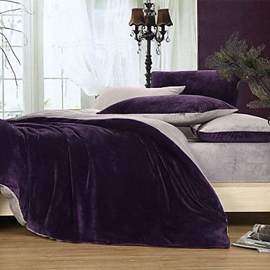 120 50 3 Piece Solid Dark Purple Duvet Cover Set Purple Duvet Cover Duvet Cover Sets Purple Bedding