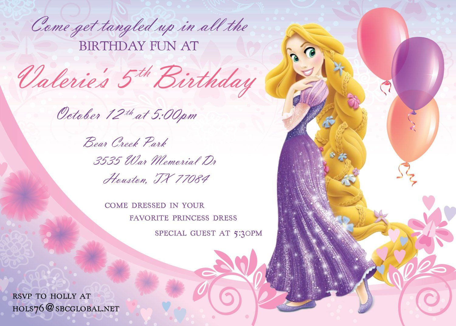 Rapunzel Invitation Template A Girly Birthday Party Invitation Card Design Rapunzel Birthday Invitation Girly Birthday Party Invitations Girly Birthday Party