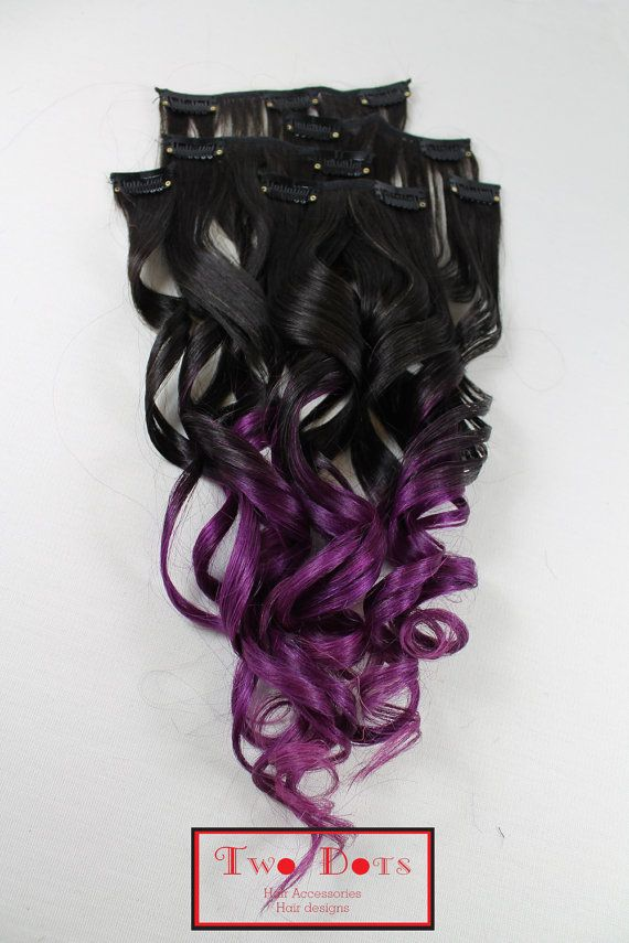 Ombre Dip Dyed Clip In Extensions Fade From Dark Brown To Purple