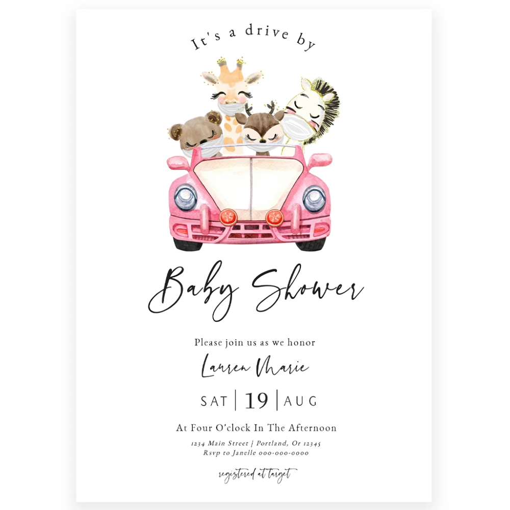 Drive By Baby Shower Invitation In 2021 Etsy Baby Shower Invitations Baby Shower Invitations Baby Shower