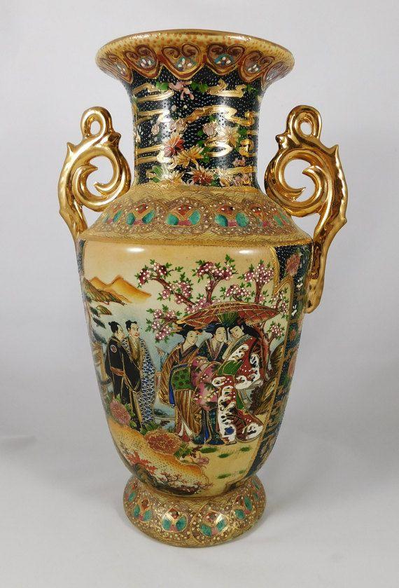Asian Vase Geisha Decor Royal Satsuma Moriage Heavy Gold 14 Quot Exquisite Vase Asian Vintage