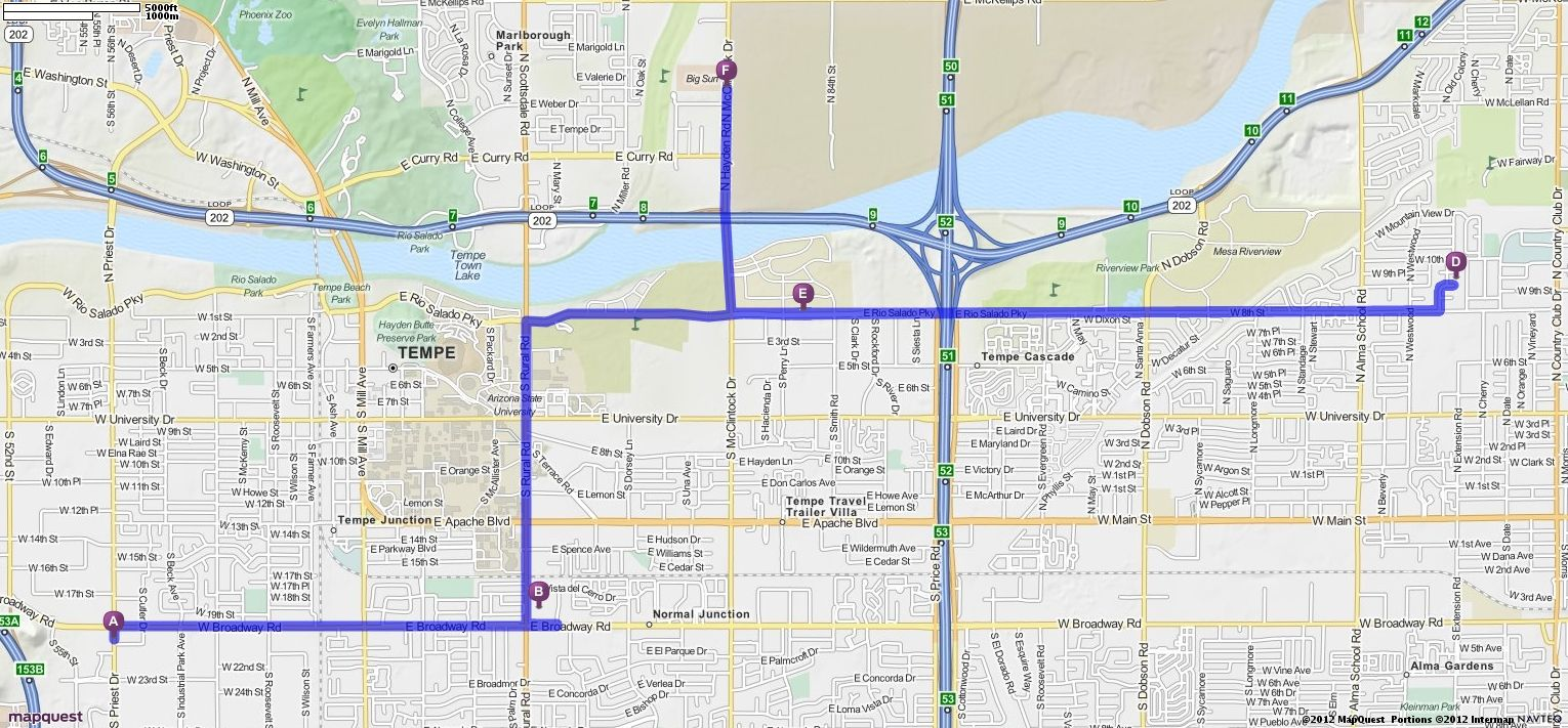 Driving Directions from 2100 S Priest Dr, Tempe, Arizona 85282 to ...