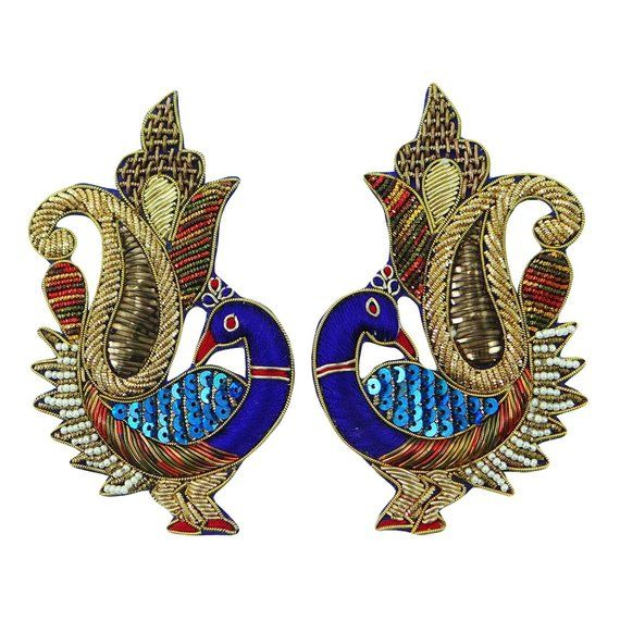 Blouse Sewing,Scrapbooking 1 Pair Indian Peacock Dress Craft Patch Appliques
