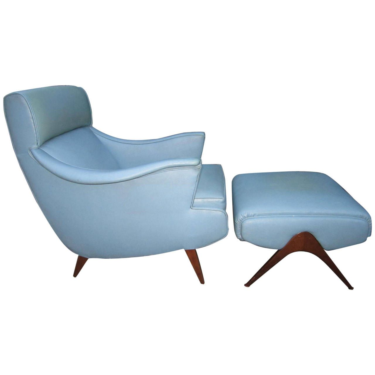 Exciting Mid Century Modern Kagan Inspired Lounge Chair With Ottoman
