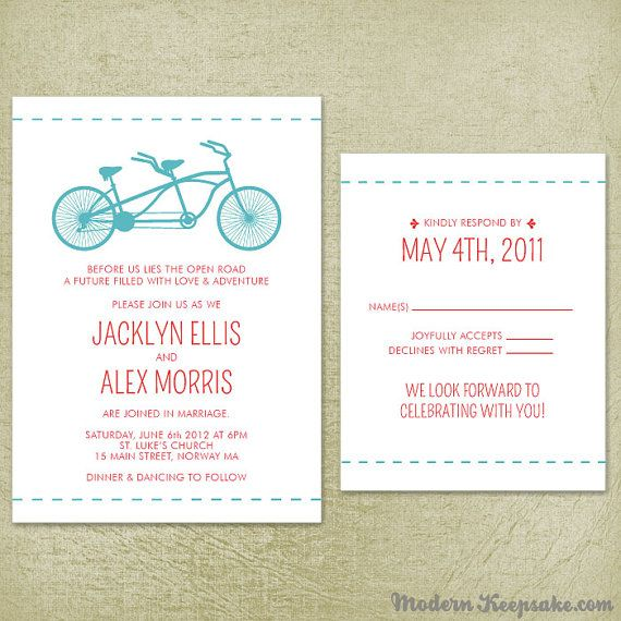 Wedding invitation suite tandem bicycle sample set bike invite wedding invitation suite tandem bicycle sample set bike invite and rsvp cards stopboris Choice Image
