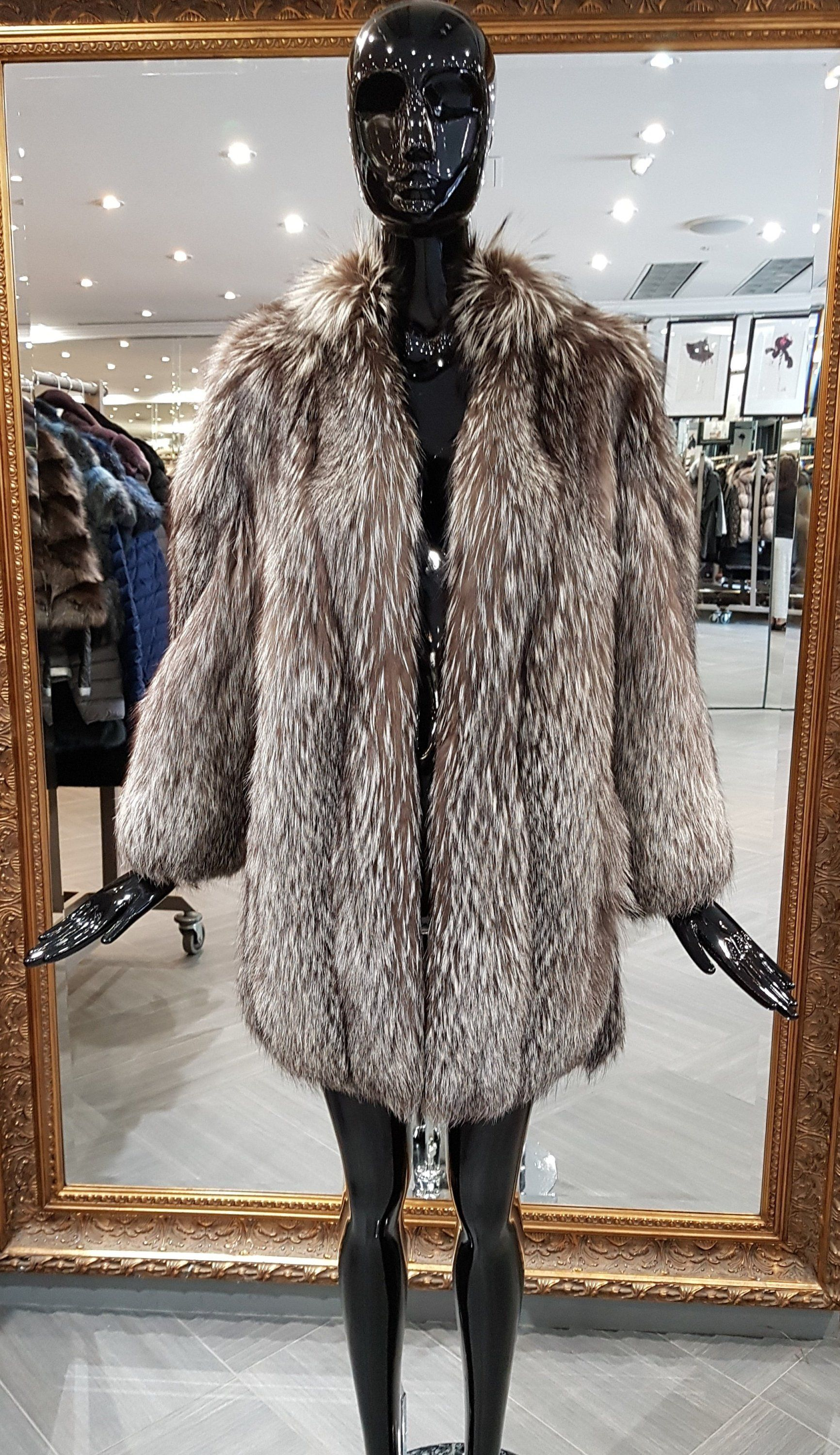 07b43443272d 90s Vintage Feathered Silver Fox Jacket Women's 10 12 https://etsy.me