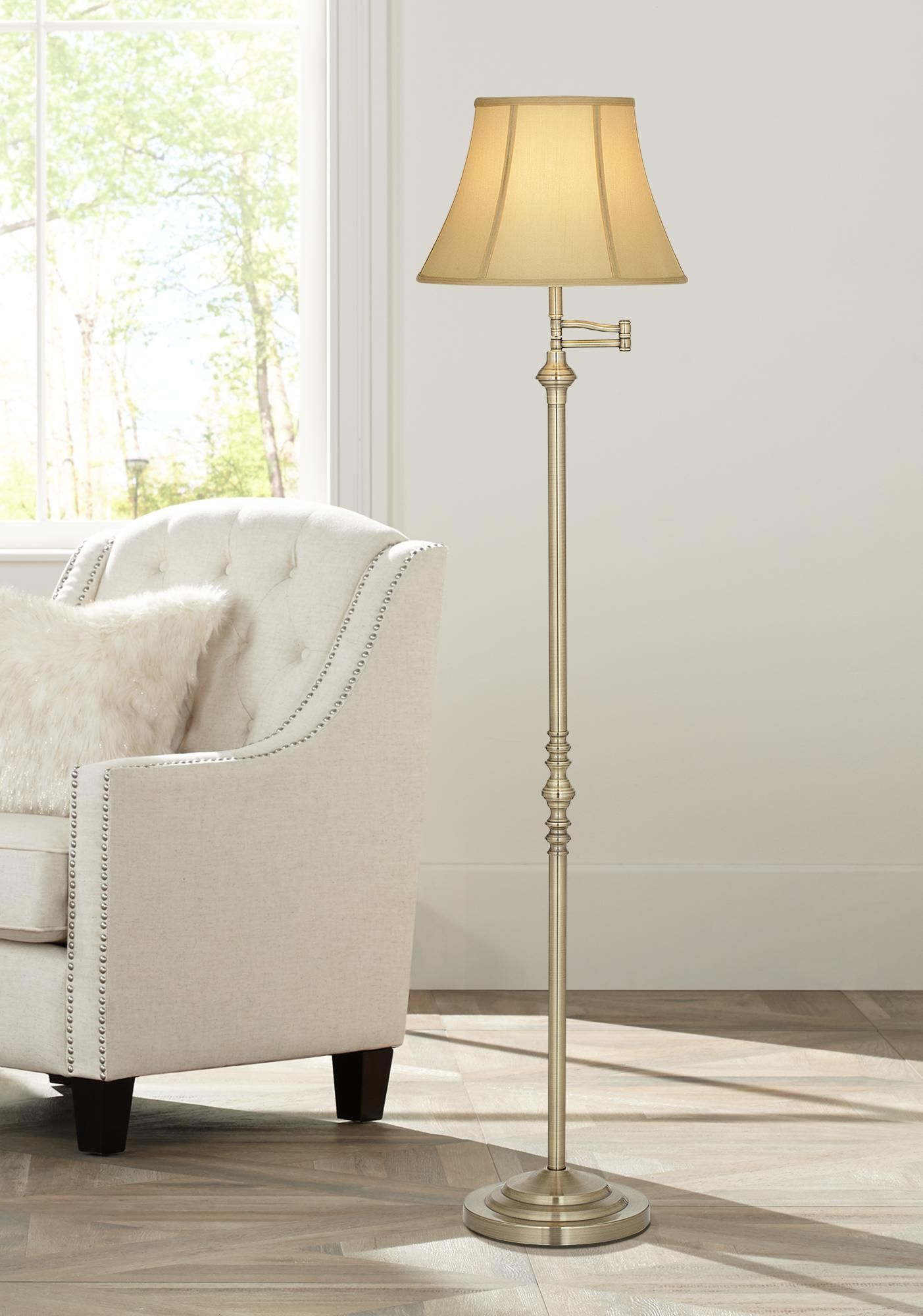 Floor Lamps Montebello Collection Antique Brass Swing Arm Floor Lamp Traditional Floor Lamps Floor Lamp Styles Brass Floor Lamp