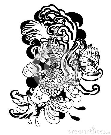 Black And White Koi Fish Vector Hand Drawn Japanese Tattoo Design Japanese Carp Line Drawing Coloring Book Vec Doodle Art Doodle Art Designs Doodle Art Flowers