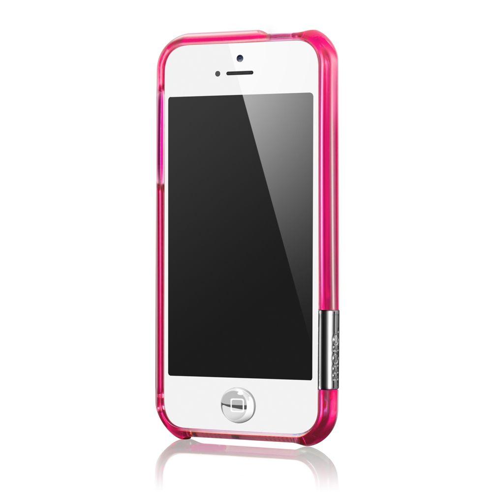 more - Bumper Color Gem Lucent per iPhone 5 - Fuchsia (Rosa)