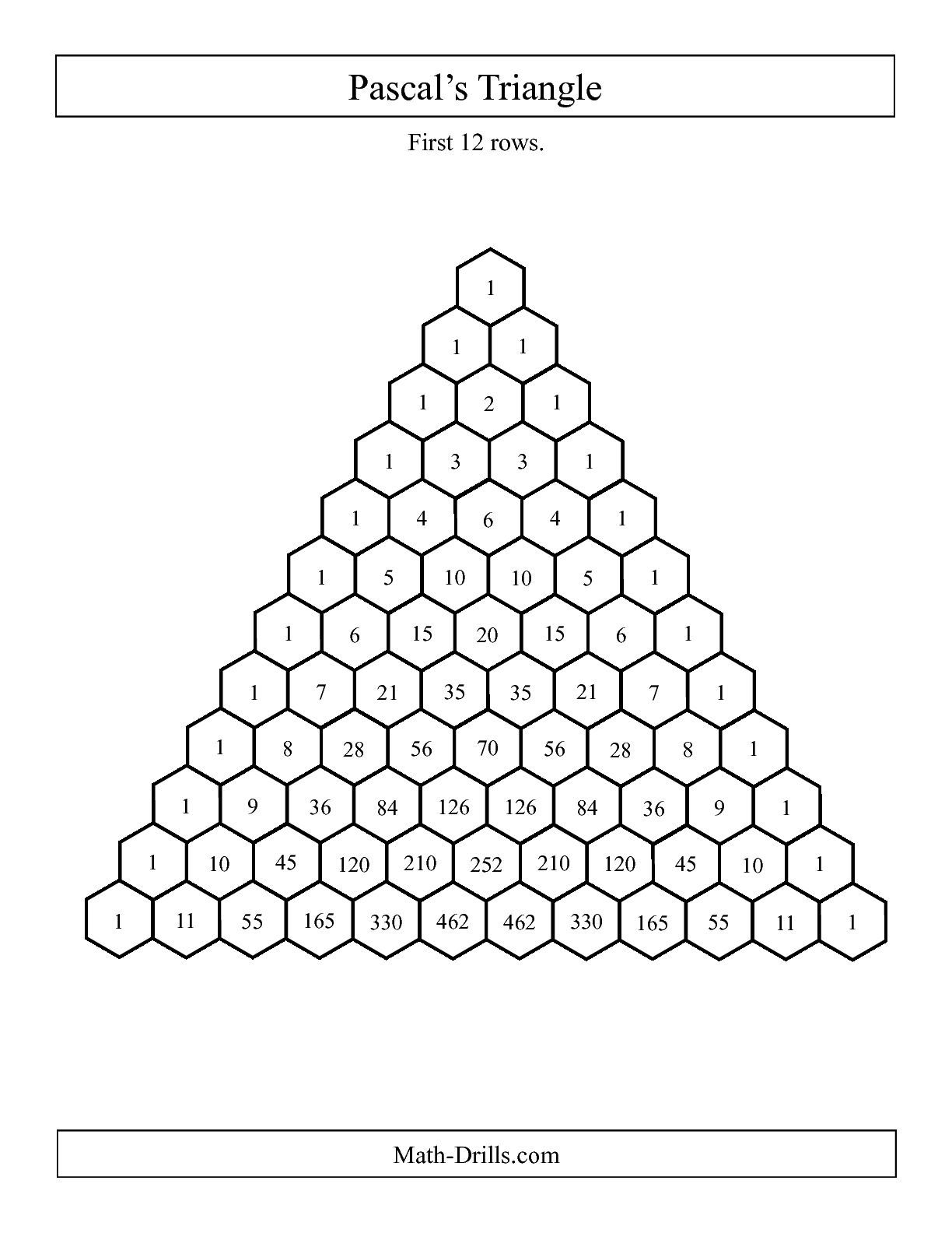 Worksheets Sierpinski Triangle Worksheet the pascals triangle first 12 rows a mathematics rows