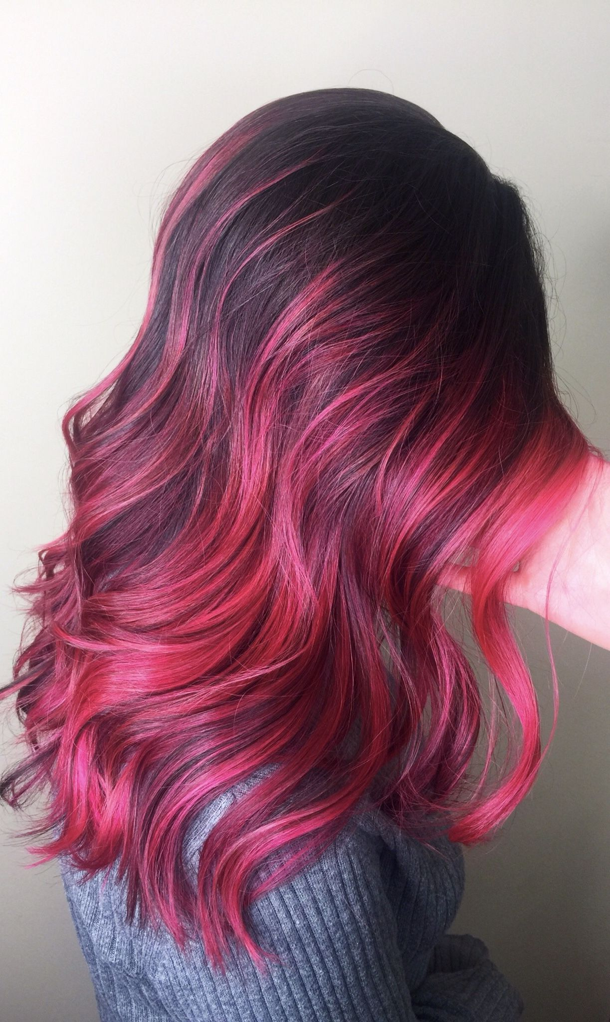 Magenta Balayage On Dark Hair Stunning Pink Hair Highlights Dark Pink Hair Hair Color For Black Hair