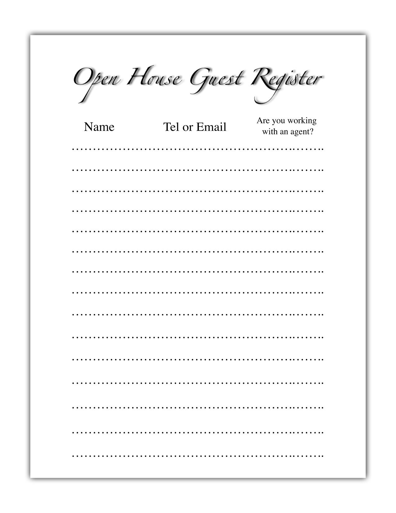 open house register template  Open House Guest Register | Real Estate | Pinterest | House guests ...