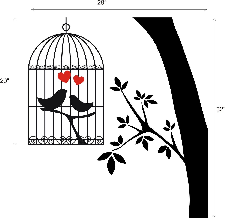 Love Birds Cage Tree Limb Removable Matte Finish