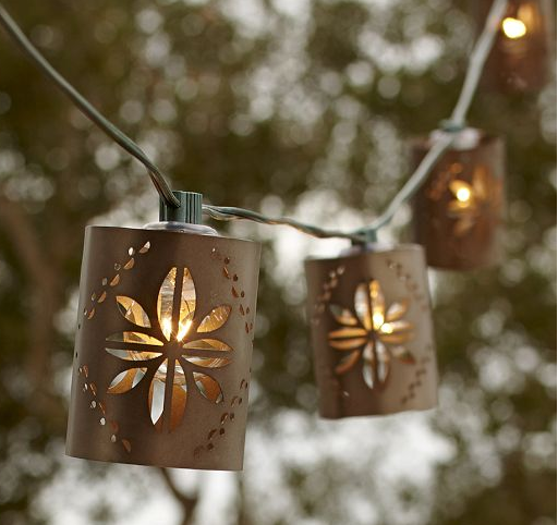 Punched tin string lights from pottery barn