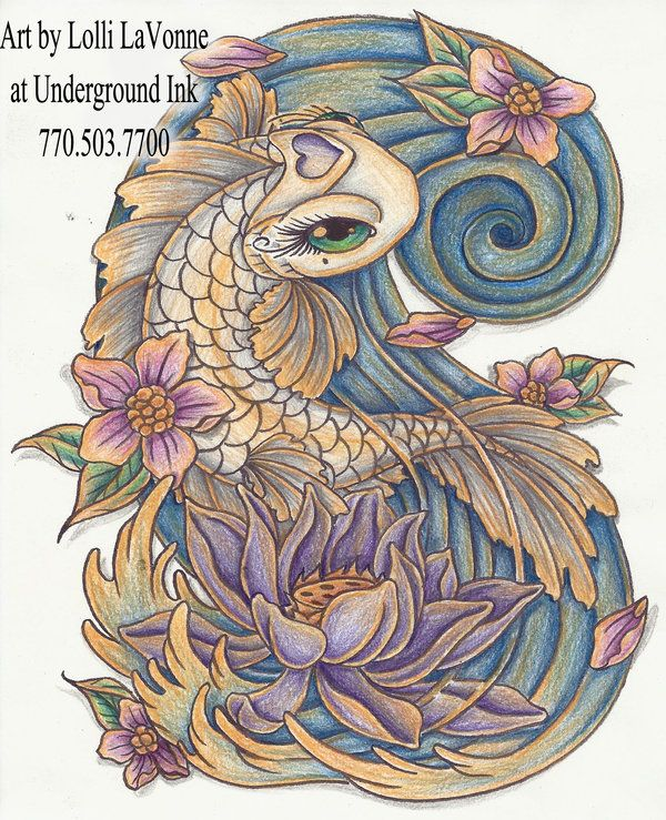 koi fish and lotus cute love the design just hate the dull colors used on this tattoo sketch. Black Bedroom Furniture Sets. Home Design Ideas