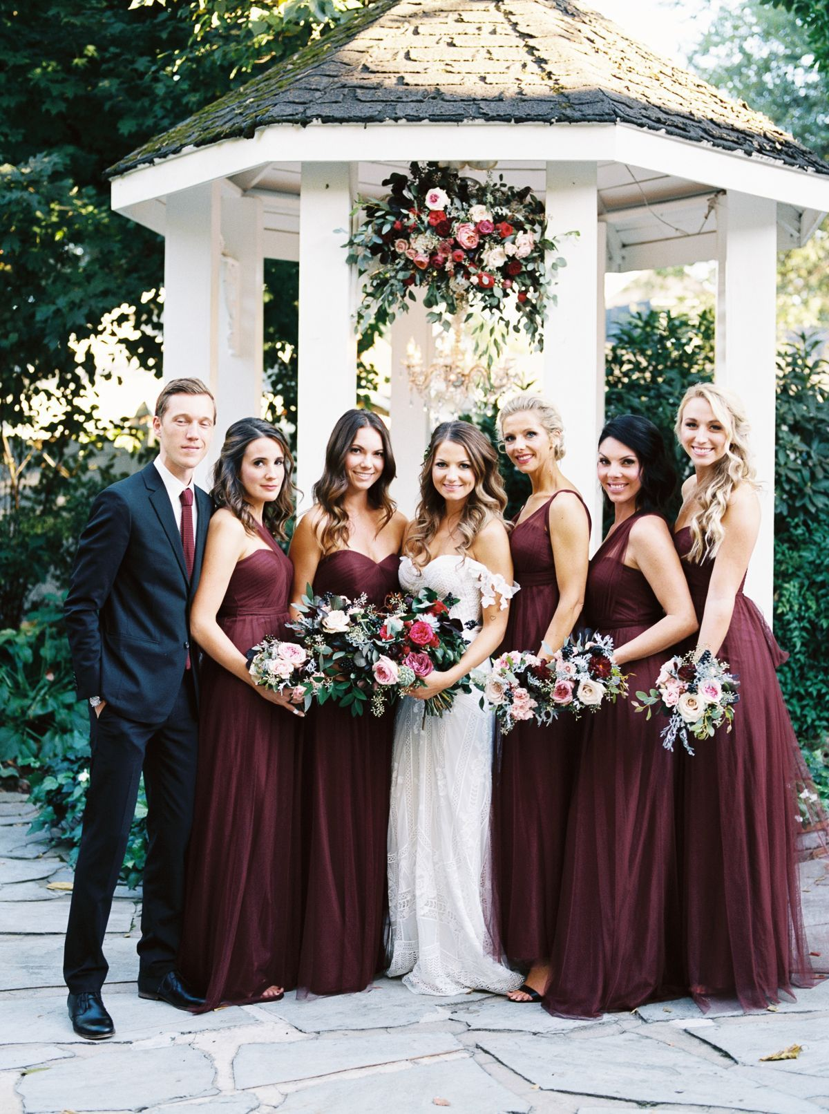 Dramatic Boho Fall Garden Wedding October 9 At Cj S Off The Square Nashville Garden Wedding Event Venue Cj S Off The Square In 2020 Wine Bridesmaid Dresses Wine Colored Wedding Wine Color Bridesmaid Dress