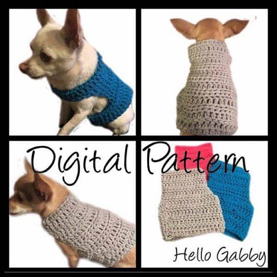 Dog Sweater - Small Size CROCHET PATTERN Dog Pet Chihuahua Vest ...