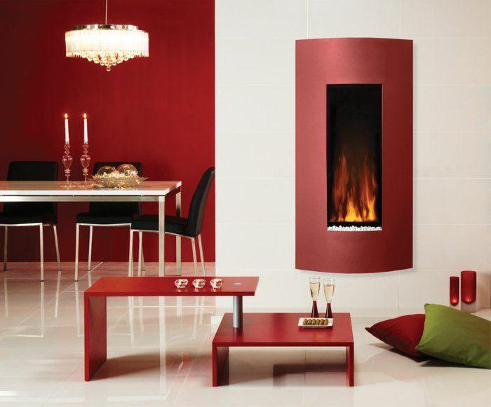 Designs · Wandkamin Offener Wohnplan Rote Wandgestaltung Esszimmer  Wohnbereich