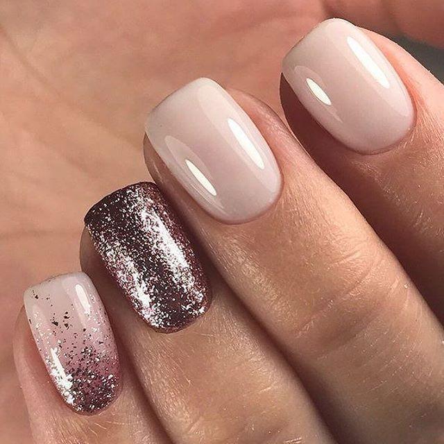Blush Rose Gold Glitter Nail Art Design Ideas Nails Nailart