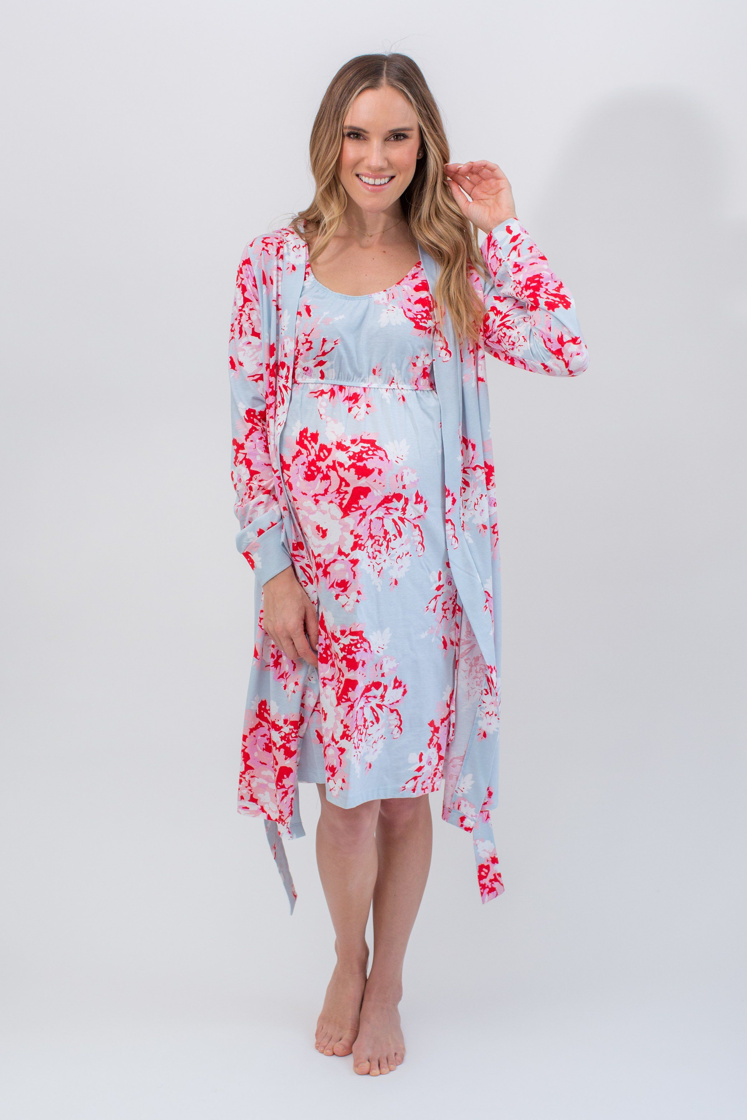64bd941ff5c0 Buy as a set   save This eye catching nightdress with matching robe is  designed to make you feel gorgeous   comfy whilst pregnant or nursing.