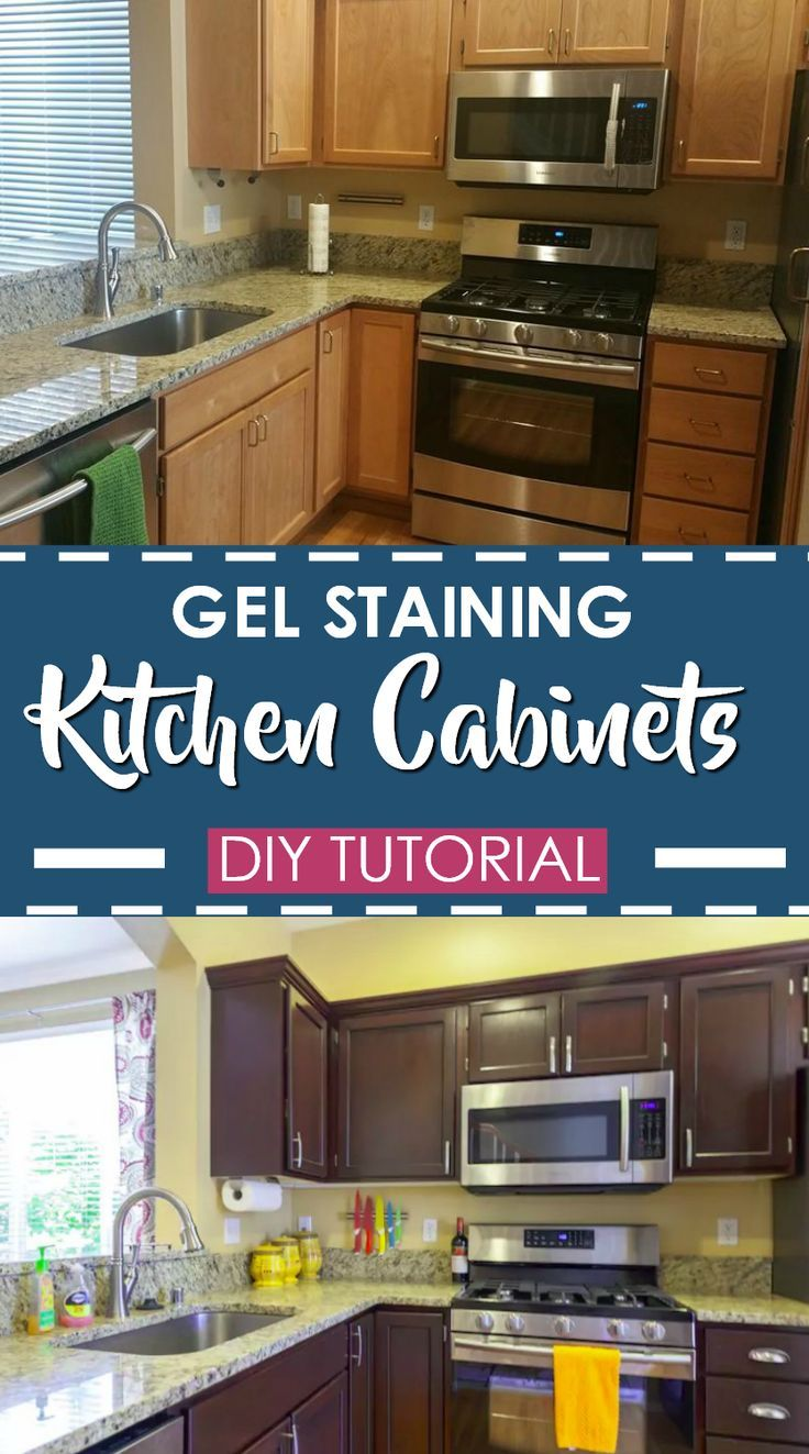 How To Transform Your Kitchen For Under 200 Gel Staining Cabinets Stained Kitchen Cabinets Diy Kitchen Cabinets Kitchen