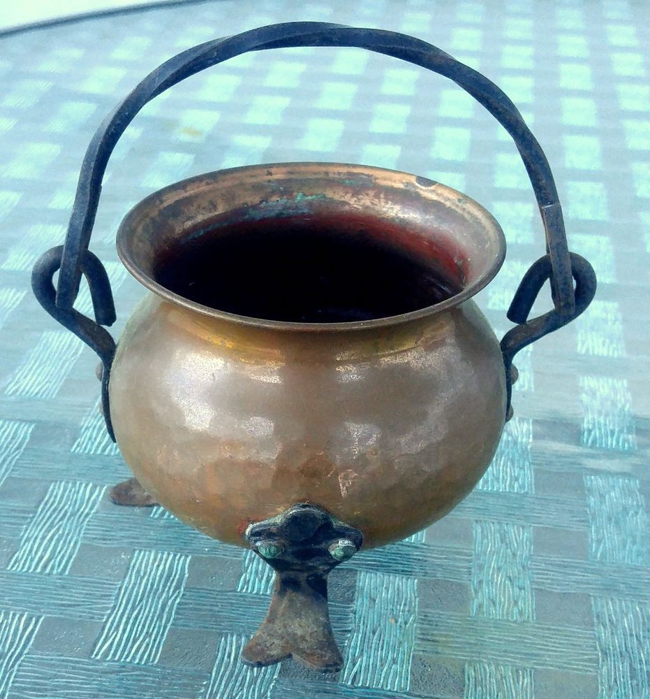 Vintage Hammered Copper Pot Cauldron Footed Twisted Iron