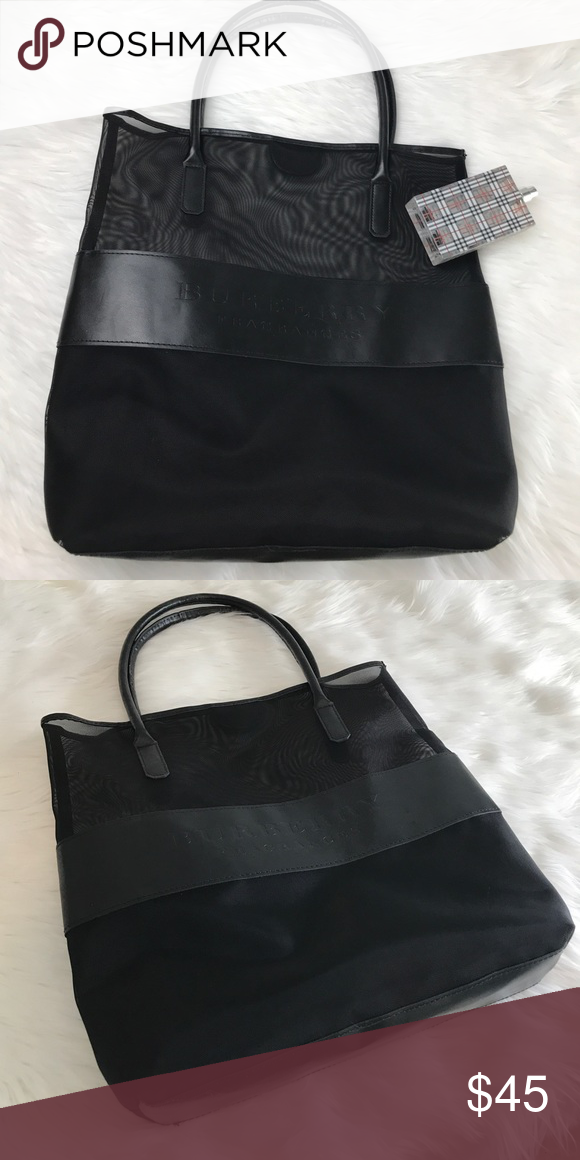bff6c33bcf09 Authentic New Burberry Fragrance bag mesh leather Just stored in a closet  and never used. Perfume not included Burberry Bags Totes
