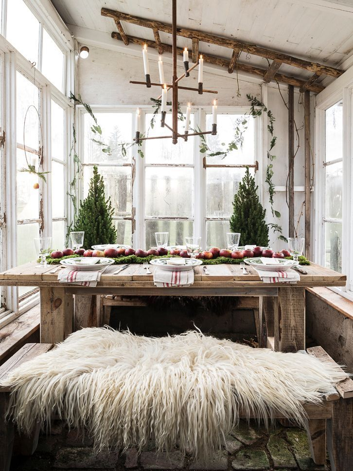 A Scandinavian Christmas Dinner in the Greenhouse - coco kelley