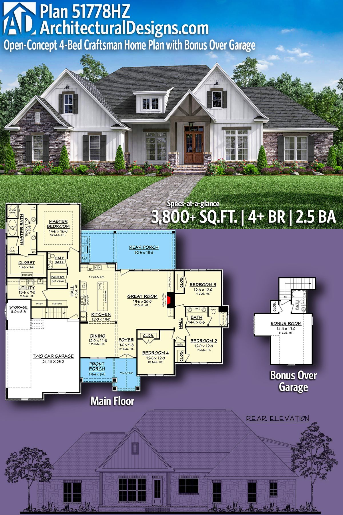 Plan 51778hz Open Concept 4 Bed Craftsman Home Plan With Bonus Over Garage Craftsman House Plans House Plans Craftsman House