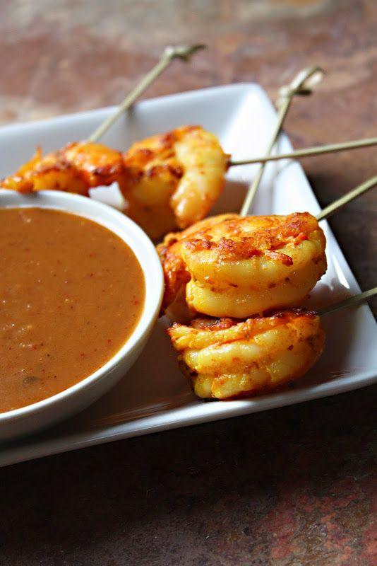 Shrimp satay with Thai peanut sauce.