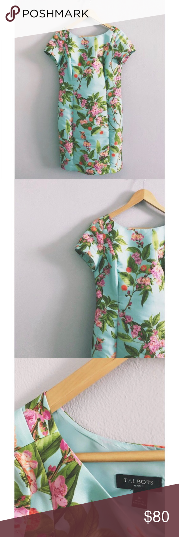 1950s Inspired Mint Greenhouse Dress Style Turquoise Mint Floral Plantprint 1950sinspired Talbots Sizing 8 Petite W Petite Women Talbots Dress Dresses